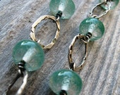 Hammered Fine Silver Hoops with Teal Lampwork Beads -- You Know You Want To
