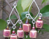 Pink chandlier earrings-Cube beads of glazed ceramic- Crystal multi color beads-Bold look