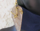 Dangle earrings of sand colored jade carved leaves- Brass squiggles-Brass ear wires-Jade-Leaf carved-Wire wrapped