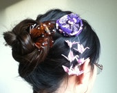 Purple Origami Crane and Kimono Hair Accessory