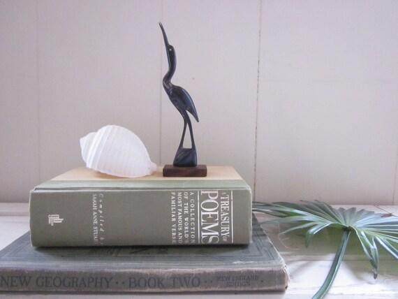 Vintage Wooden Crane-Figurine-Carved-Beach-Water