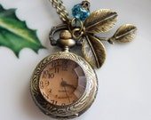 Defect Item for Sale - Victorian Brown Transparent Crystal Cover Pocket Watch Necklace with leaf and crystal