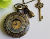 Steampunk Style Roman Numerals Pocket Watch Necklace With Key and Bottle Charm