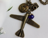 Fly Dream - Antiqued Airplane Charm Necklace with Camera and Globe