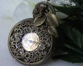 Steampunk Filigree Pocket Watch Necklace with Leaf and Rose Charm