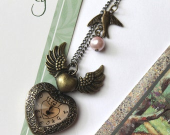 Antique Brown Transparent Crystal Cover Heart Pocket Watch Necklace with Swallow and Wings Charm