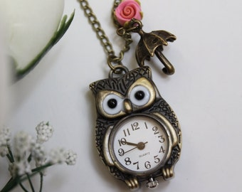 Antiqued Owl Pocket Watch Necklace With Umbrella and Rose Flower Charm