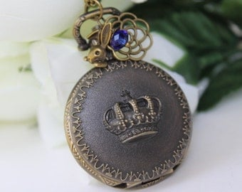 Alice in wonderland - Victorian Crown Pocket Watch Necklace with Rose Flower and Bunny Charm