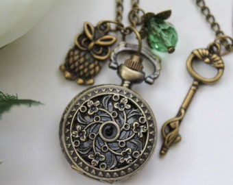 Victorian Style Filigree Flower Pocket Watch Necklace with Owl and Key Charm