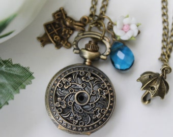 Alice in Wonderland - Filigree Flower Pocket Watch Necklace with Bunny and Umbrella Charm