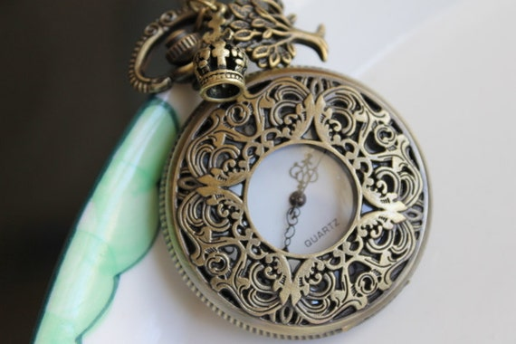 Steampunk Filigree Pocket Watch Necklace with Tree and Crown Charm