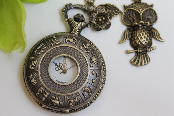 Steampunk Zodiac Constellation Pocket Watch Necklace with Owl and Rose Flower Charm