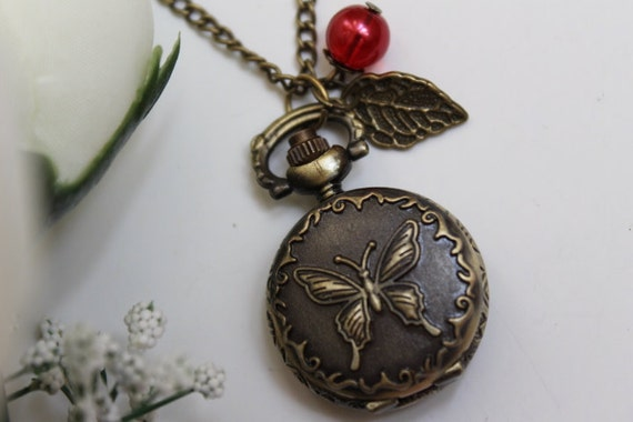 Victorian Style Butterfly Pocket Watch Necklace With Leaf and Skeleton Key Charm