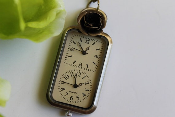 Double clock antique brass pocket watch necklace with rose