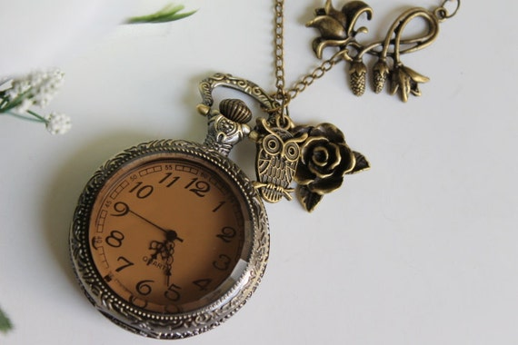 Steampunk Victorian Style Pocket Watch Necklace with Owl and Rose Flower Charm