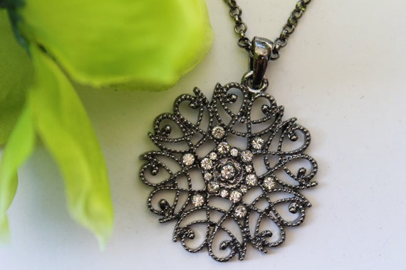 Vintage Gun Black Filigree Flower Rhinestone Pendant Necklace