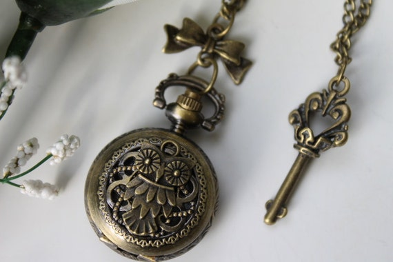 Vintage Filigree Owl Pocket Watch Necklace with Bow and Key Charm