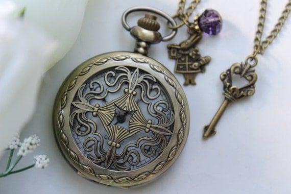 Alice in Wonderland - Vintage Filigree Pocket Watch Necklace with Rabbit and Skeleton Key Charm