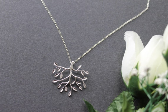 Tree Necklace, Sterling Silver Chain, Daily Jewelry and Gift Ideal