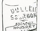 Bulleit Bourbon 750ml Glass Bottle BLOCK PRINT