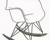 Eames Molded Plastic Armchair Rocker BLOCK PRINT