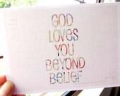 Inspirational Printed Postcard GOD LOVES YOU with envelope