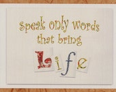 Inspirational Christian Postcard WORDS OF LIFE with envelope