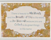 Inspirational Christian Postcard BEAUTY in HIS HANDS framed in golden blossom paper