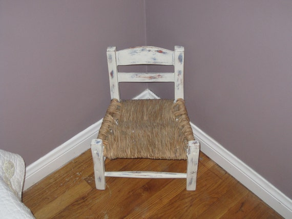Vintage Shabby Rustic ladder back Toddler Chair with Rush Seat