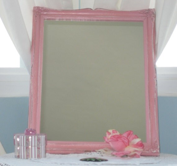 French Country Wood Framed Mirror in Pink