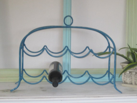Rustic Iron Wine Rack (8 Bottle) Upped in Teal Blue