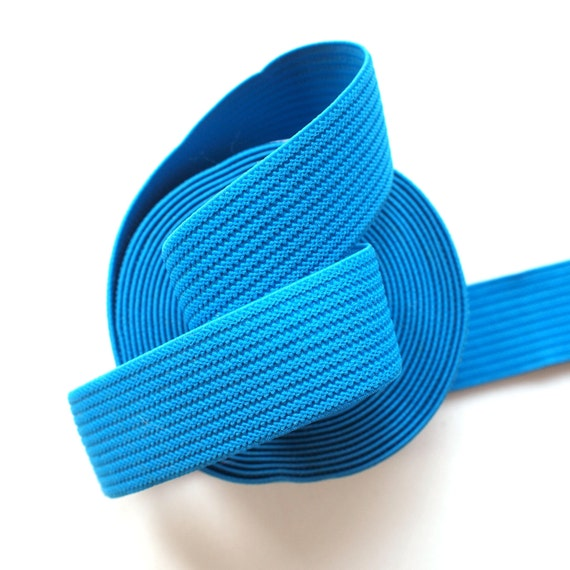 "1 1/4"" Cobalt Blue Ridged Textured Stretch Elastic Band (1 Yard)"