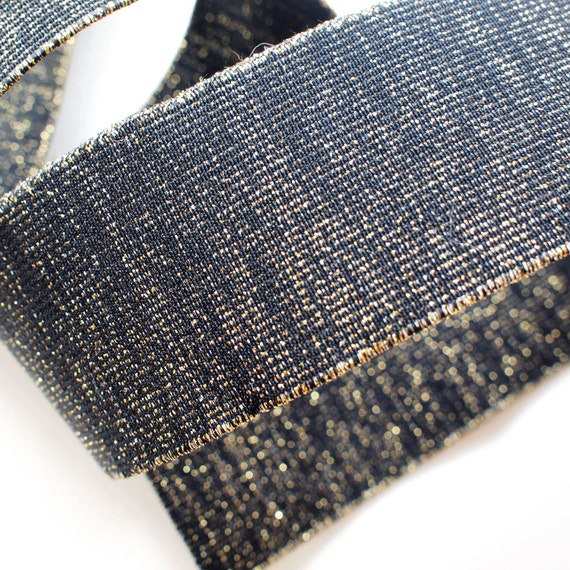 "2"" Black with Gold Speckle Stretch Elastic Band (1 Yard)"