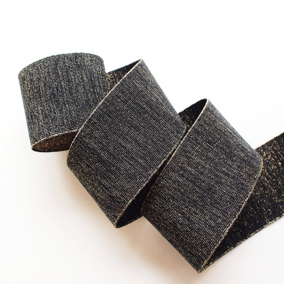 """3"""" Black with Gold Speckle Stretch Elastic Band (1 Yard)"""