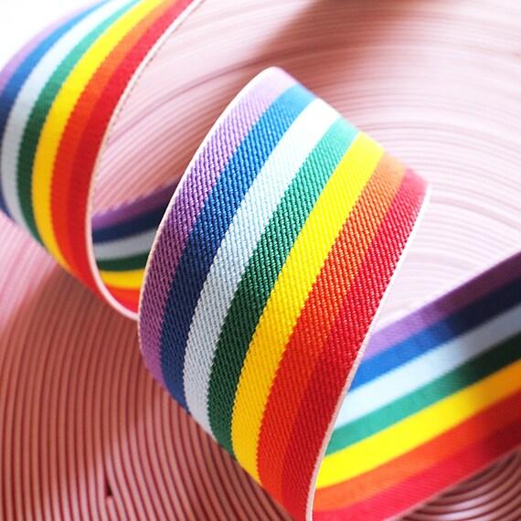 "Last Piece 2"" Wide Reversible Rainbow Stripe Stretch Elastic Band (1 yard 14"")"