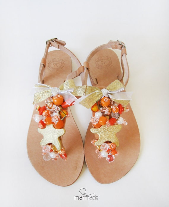 Handmade Leather Sandals with Gold Starfish, orange, gold and cream beads