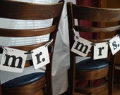 Mr and Mrs Wedding Chair Signs -Wedding Garland -Wedding Reception Chair Tags- Wedding Photo Props You Pick the Colors