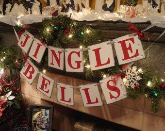 Christmas decorations - JINGLE BELLS Banner- Christmas Garland - Holiday Garland - Holiday Photo Prop -Holiday Mantle Decoration-
