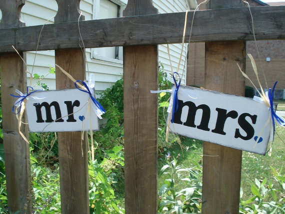 Rustic Style MR AND MRS Chair Hangs or Photo Props Wedding Banners