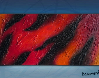 Lava  textured acrylic abstract painting on canvas, red, yellow, black 12x24