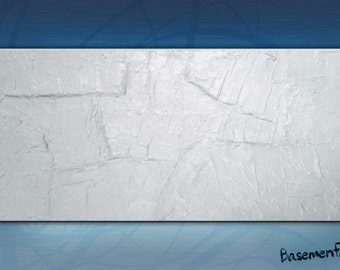 White abstract deeply textured acrylic painting on canvas, contemporary mixed media. 12x24