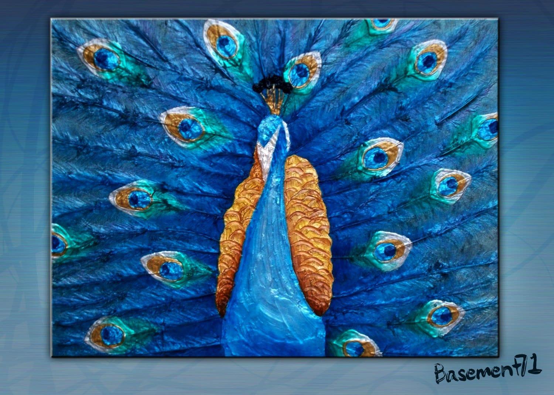 Iridescent peacock art textured acrylic painting metallic for Metallic paint artwork