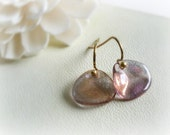 Rose petals short earrings - Pink and gold Czech glass petals on antiqued brass french hooks-gift for her