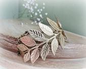 Laurel Branch Bracelet - Raw brass Golden leaves dreamy cuff freshwater pearl Art nouveau style bridal Leafy fall autumn jewelry