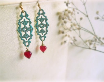 Salvia - romantic heart earrings red blue patinated brass verdigris patina Czech glass garnet Valentine jewelry gift for her