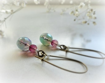 Erica- Romantic long earrings- Czech glass rosebud, teal blue turquoise, soft pink rose, pearly-gift for her