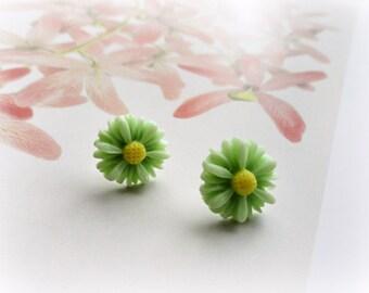 Green Chrysanthemums - Romantic post earrings Resin cabochon soft pastel mint light green yellow Gift for her Gardener