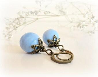 Blue Ibones - Chalcedony Gemstone earrings - Celestial blue gems antiqued brass leaves caps gift for her Something blue