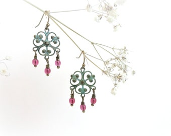 Red Currants - Romantic dreamy earrings Pink Czech glass beads blue turquoise filigree vintage teal verdigris patina preppy jewelry gift