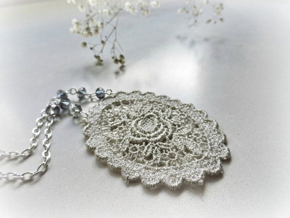 Silver Rose - Lace long necklace Flower and roses venice lace medallion blue mauve grey glass beads Silverplated chain Gift for her
